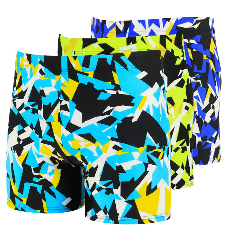 CALOFE 2018 Patchwork Swim Shorts For Men High Elastic Trunks Quick Dry Summer Board Shorts Swimming Board Short Pants Wear