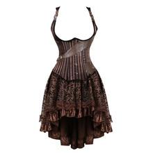 Plus size vintage steampunk korsetten underbust jurk burlesque gothic pirate corset bustier faux leather rokken set bruin vrouwen