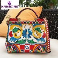 Luxury Italy Brand Sicily Ethnic Floral Printed Bag Genuine Leather Casual Tote Platinum Bag Lady Shoulder Messenger Bags Bolsas