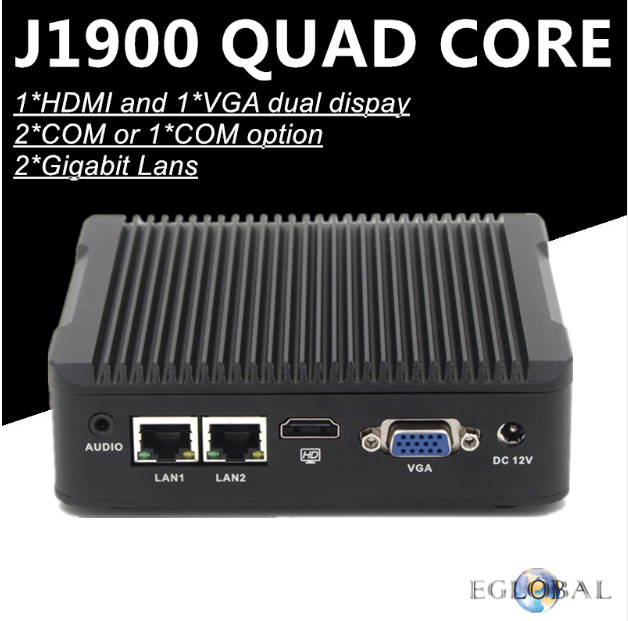 Eglobal Low Cost Embedded Fanless Mini PC Celeron Quad Core J1900 2 LAN 2 RS232 COM Linux Pfsense Mini Industrial Computer