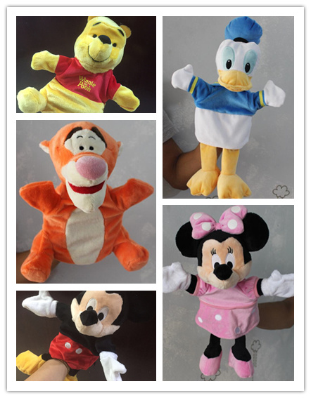 цена на 1pcs Original Hand Puppet Mickey Mouse Donald Duck Minnie mouse Tigger Plush Puppet Toys Gifts For reborn baby soft toys