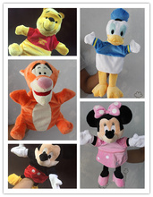 1pcs Original Hand Puppet Mickey Mouse Donald Duck Minnie mouse Tigger Plush Puppet font b Toys