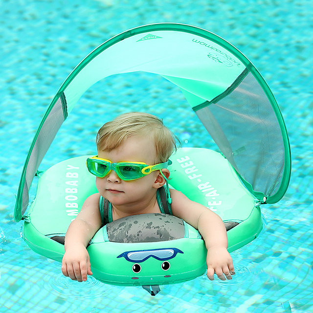 Baby Infant Non-Inflatable Float Lying Swimming Ring Children Waist Float Ring Floats Pool Toys Swim Trainer Sunshade Swim Ring 1