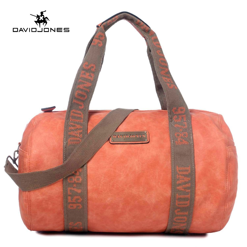 DAVIDJONES women shoulder bags pu leather female handbag big lady trip duffel bag girl brand gym messenger bag drop shipping