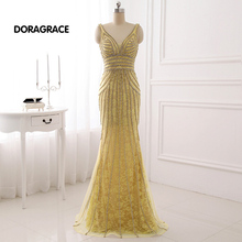 DORAGRACE Real Photos Gorgeous V Neck Beaded Tulle Floor-Length Mermaid Prom Gowns Formal Evening Dresses DGE060