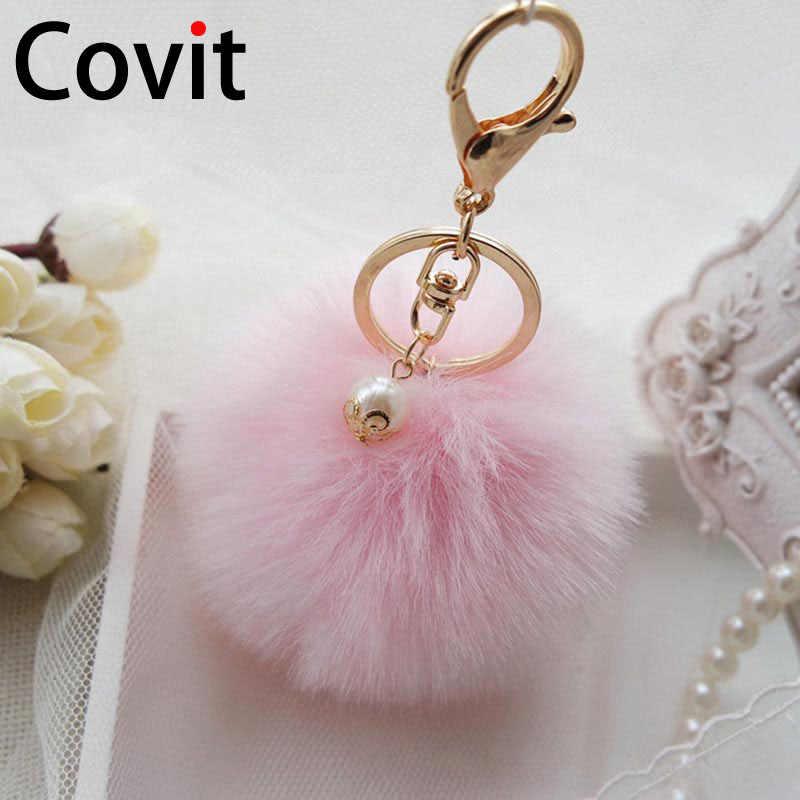 Covit super fofo bola de pele chaveiro anéis bonito pompom feminino chaveiro carro pingente ornamentos saco acessórios presente natal