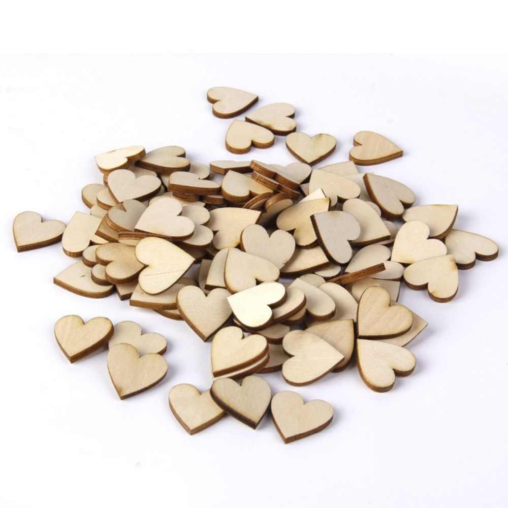 100 шт 40 мм Пустые сердца аксессуары из дерева украшения для искусства DIY ремесла свадебный Рождественский Декор