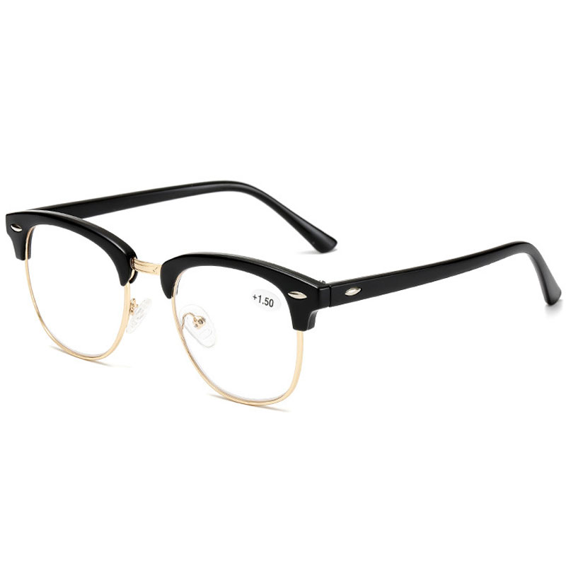 Unisex Reading <font><b>Glasses</b></font> Retro Style Half Frame Men Women Hyperopia Prescription Eyeglasses +<font><b>1.0</b></font> 1.5 2.0 2.5 3.0 3.5 4.0 Diopter image