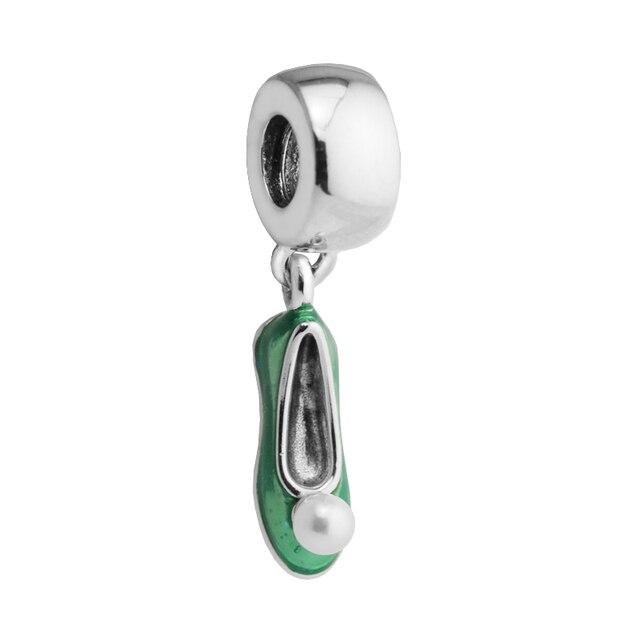 prezzo più basso 1a783 05d57 US $14.1 15% di SCONTO|Fit Pandora bracciali Trilli scarpe 100% 925 Fascini  d'argento Discussione con smalto verde 2017 primavera nuovo processo in ...
