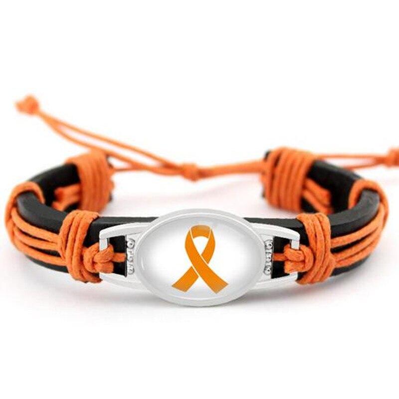 Leukemia Cancer Awareness Leather Bracelet Orange Ribbon Genuine Leather Bracelets & Bangles For Men Women Bracelet Jewelry