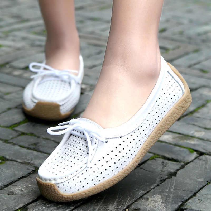 SWYIVY หญิงรองเท้าฤดูใบไม้ผลิ 2019 ใหม่แพลตฟอร์มผู้หญิงแฟลต laofers ของแท้หนัง breathable ฤดูร้อนสีขาวรองเท้ารองเท้าผู้หญิง