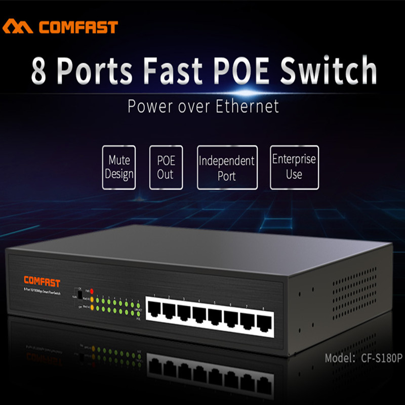 8 ports fast POE switch  COMFAST CF-S180P network switch with 1.8Gbps Broad width 8*1/100M RJ45 port support POE power supply new 16ch ports poe fast ethernet switch with 2ch gigabit auto up link switch rj45 network lan switcher 48v poe power supply