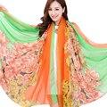 Luxury Brand Дизайнер Шелковый Шарф Женщины Шифон Цветок Солнцезащитный Крем Большой Размер Шали И Шарфы Echarpes Foulards Femme 200*140 см