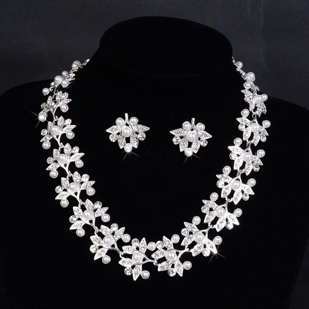 leaf flower links chain pearl necklace for women bridal jewelry set party silver plated wedding accessories opal jewels D032 (2)