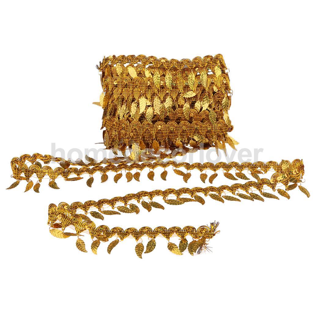 Acheter 8.5 Mètres Paillettes Tissu Feuilles Frange Ruban Garniture De Danse Du Ventre Robe Couture Applique de sewing applique fiable fournisseurs