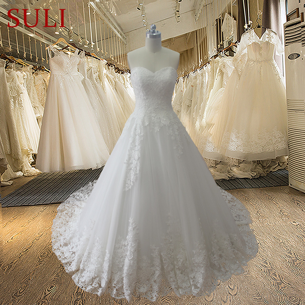 HW102 Sweetheart Lace Up A Line Sweep Train 2015 New Fahsion Bridal Wedding Dresses