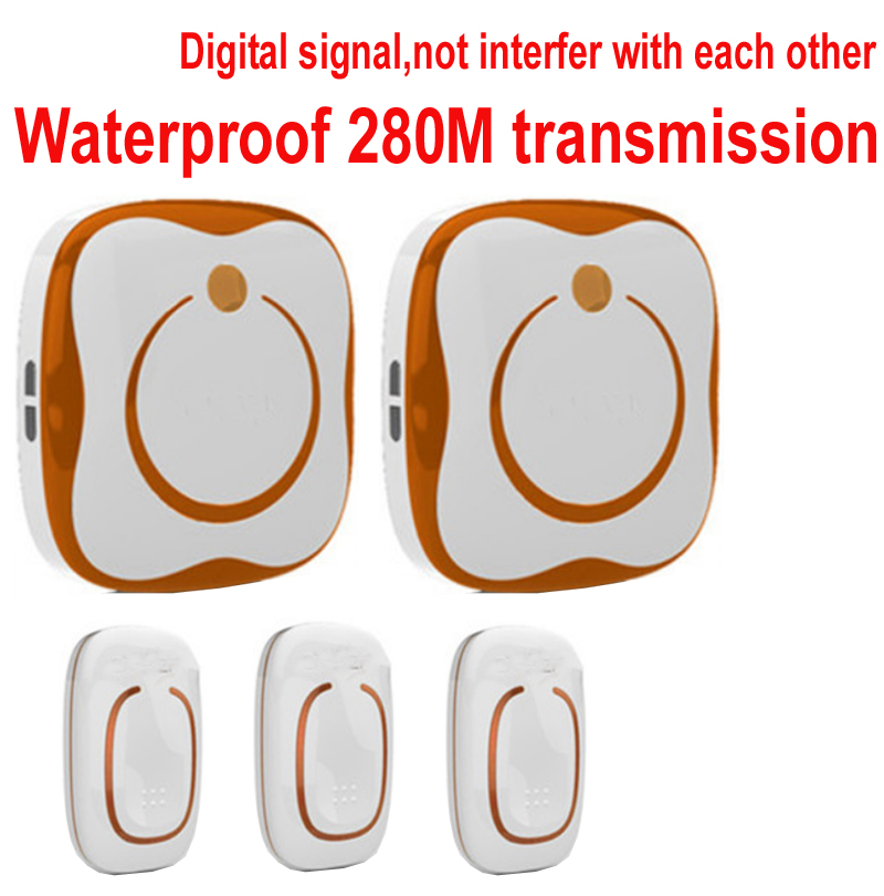 ring kits 3 emitters+2 receivers bell sets Waterproof 280M works wireless doorbell,wireless door chime,wireless bell,door bell, 2 receivers 60 buzzers wireless restaurant buzzer caller table call calling button waiter pager system