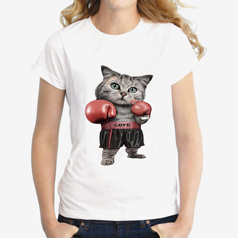 Funny Women Cat T Shirts Pussy Boxing Animal Print Graphic Tops for Women 39 s Female Black White Grey Short Sleeve Unisex T shirt in T Shirts from Women 39 s Clothing