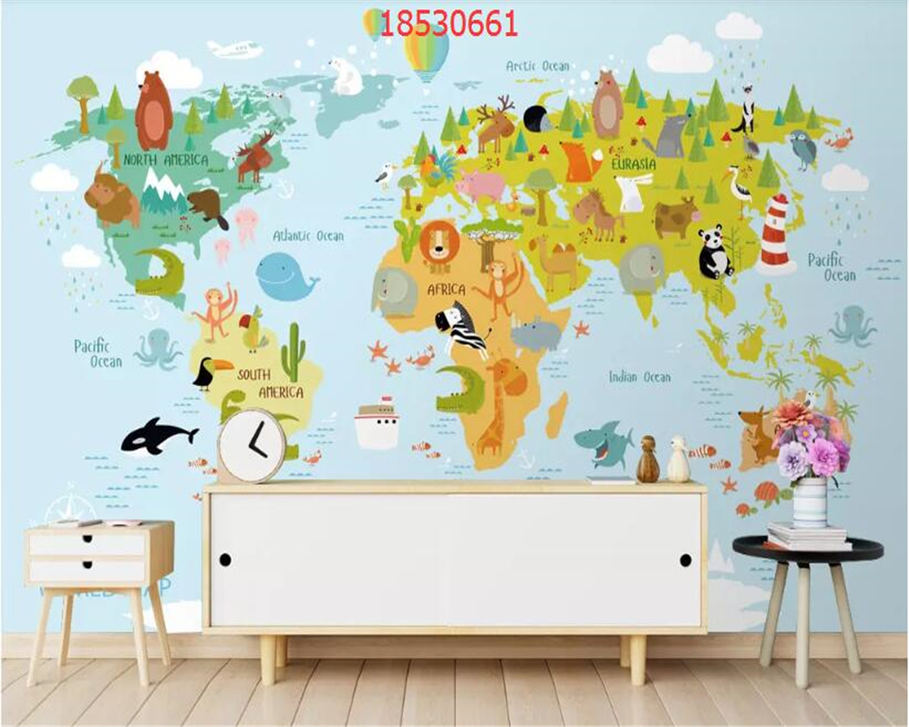 Купить с кэшбэком beibehang Custom size Modern fresh cartoon geometric animal world map children room background wall painting wallpaper behang