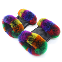Colorful fox fur gloves women autumn and winter outdoor warm gloves travel riding wear real sheepskin production 18 new discout