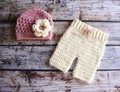 Baby Beanies,baby crochet Hat,Baby pants,New Handmade Cotton Knit Crochet Baby flower Hats & Pants Newborn crochet Photo Prop
