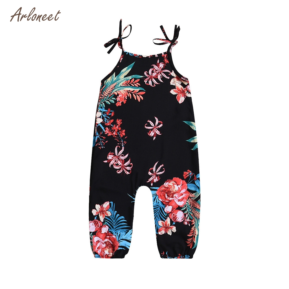 ARLONEET Infant Baby Girl Floral Print Sleeveless Strap Romper Jumpsuit Playsuit Outfits _F29
