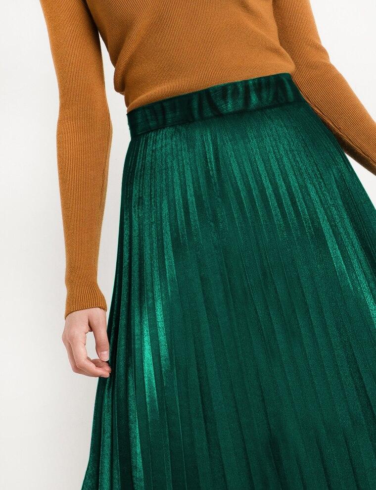 2016 Chic Vintage Woman Highwist Pleated Velvet skirt Slim Maxi skirt - Կանացի հագուստ - Լուսանկար 4