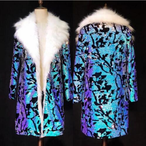 DS DJ для мужчин певица танцор шоу Бар Винтаж костюм для ночного клуба и вечерние пальто наряд Costomized S 4XL синий блёстки Роскошные дл