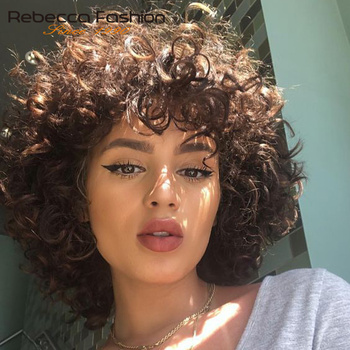Rebecca Short Loose Curly Wig Human Hair Wigs For Black Women human hair Full Peruvian Remy Bouncy Bob