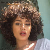 Rebecca Short Loose Curly Wigs For Black Women Peruvian Remy Bouncy Curly Human Hair Wig DX1029 Color Free Shipping