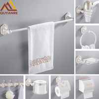 Quyanre European White Carved Gold Bathroom Hardware Set Bathroom Accessories Toothbrush Cup Paper Towel Hook banheiro hardware