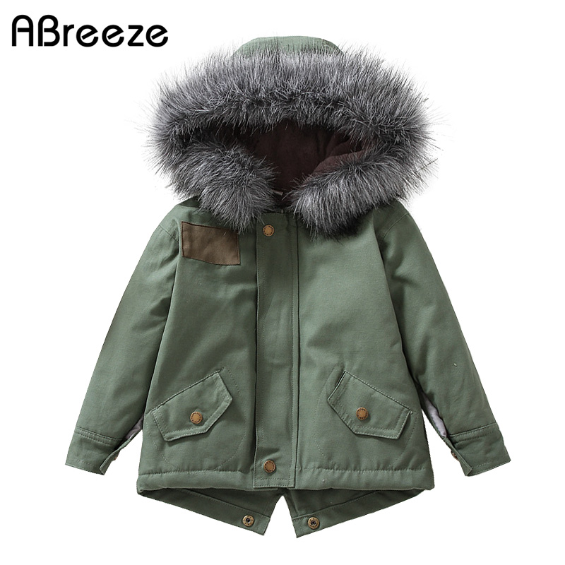 New 2-7Y Winter children parkas fashion color green jackets coats for boys casual zipper warm baby boys & girls hooded outerwear iyeal kids winter jackets 2017 new solid hooded baby girls boys cotton thincken coats infant outerwear warm clothes 1 4 years
