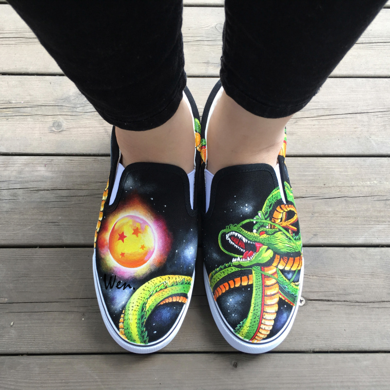 WEN Hand Painted font b Shoes b font Custom Anime Dragon Ball Green Shenron Slip on