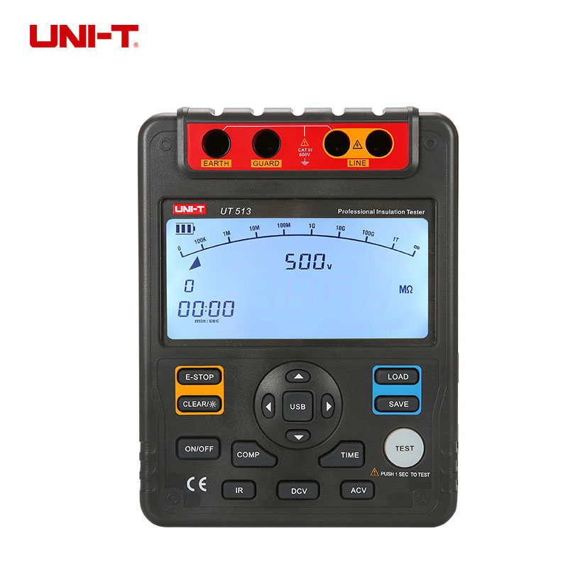 UNI T UT513 Auto Range Digital Insulation Resistance Testers Meter Megohmmeter Megger Voltmeter 5000V 1000Gohm USB Interface in Resistance Meters from Tools