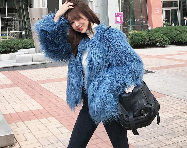 Pouces Mouton Fourrure Manches Longue Automne Shaggy À Chaud Manteau Mi 2018 Hiver Poilu De Bleu Longues Long Femmes Manteaux Faux 4 x1qIawPFE0