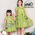 2016 Mom and Daughter Dresses Lace Mesh Mother and Girls Family Matching Clothes Summer Women Mommy Mini Butterfly Dresses