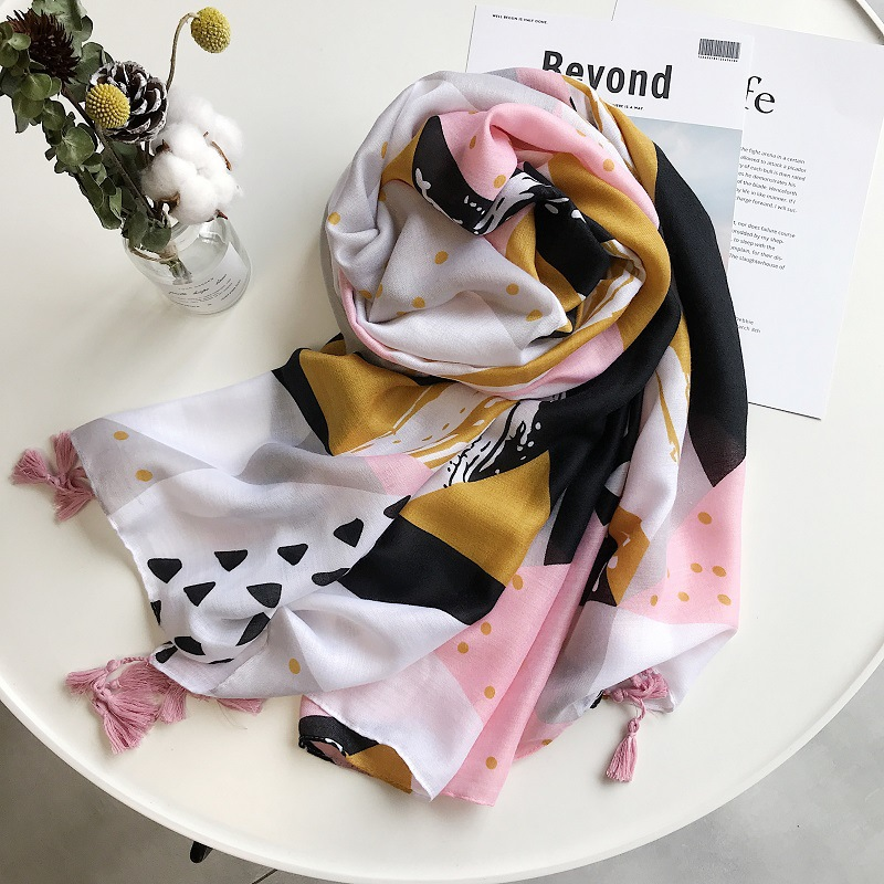 2019 Cotton Geometry Print Tassel Scarves And Shawls Long Polka Dot Print Wrap Hijab Scarf Wholesale 10pcs/lot Free Shipping