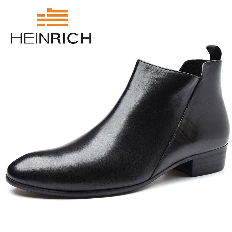 Генрих из натуральной кожи высокое качество Мужские ботинки бренд Мужские зимние сапоги тенденция комфортно увеличить на молнии мужская о