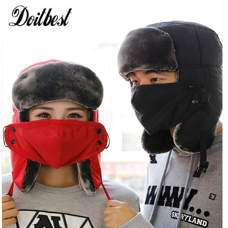 Russian man Earflap Winter black fur ushanka hats Windproof Thick warm winter snow women cap Face Mask men cycling hat