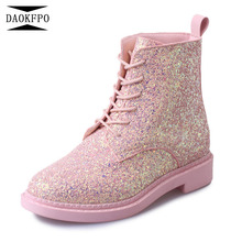 DAOKFPO Designers Marque Femmes Cheville Bottes Talons Chaussures Femmes  Femme Automne Dentelle up Glitter Bottes Casual bf39ac4af2bf