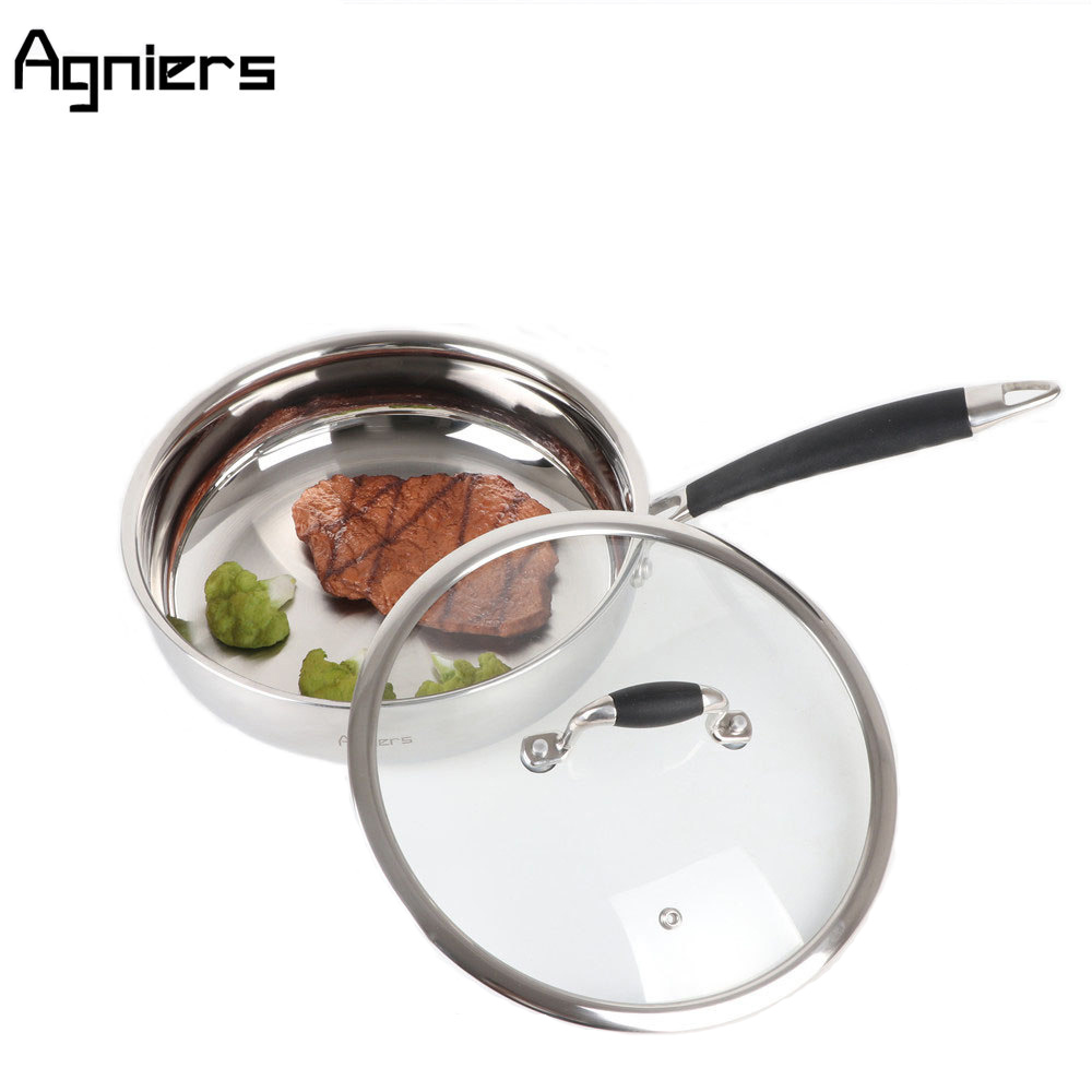 Agniers Cooking Pan Stainless Steel Tri Ply Bonded 9.5 2.5 Quart Saute Pan with Glass Lid Silver frying Pan Dishwasher safe