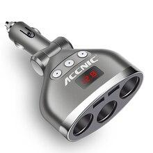 ACCNIC 3 in 1 Dual USB Car Cigarette Lighter Socket Splitter Plug 3 Cigarette Lighter Car USB Voltage Monitor For iPhone Samsung dustproof waterproof 3 1a 5v dual double usb car cigarette lighter socket