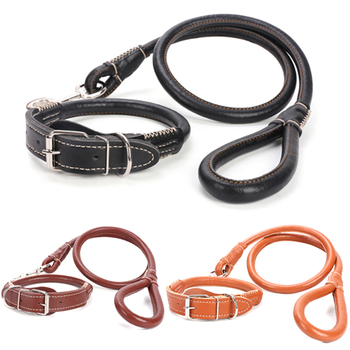 De cuero Collar de perro y correa Set ronda fuerte correa de entrenamiento de Mascota para caminar para pequeño mediano perro grande