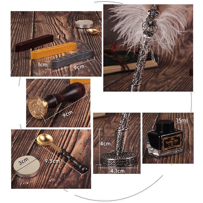 Coffret cadeau Vintage Harry Potter métal courbé naturel plume de dinde ensemble avec 5 plumes, stylo support, cire, nom sceau, Quil - 5