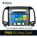 IOKONE Car DVD Video Player GPS navi Stereo multimedia para Hyundai Santa Fe 2012 Com tela de toque GPS Bluetooth SWC 8G SD cartão
