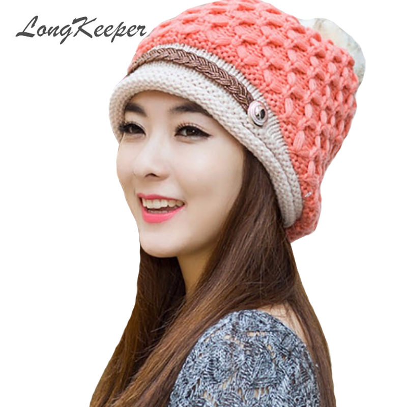 Longkeeper Winter Hats For Women Men Warm Casual Cotton Hat Crochet Slouchy  Knit Baggy Ski Beanie Hat Female Skullies Beanies bd35cbf0d716