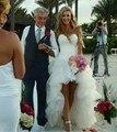 2017 Incrível Querida Organza Vestido De Noiva Personalizado High-Low Sexy Off The Shoulder vestido de noiva Vestido de Noiva