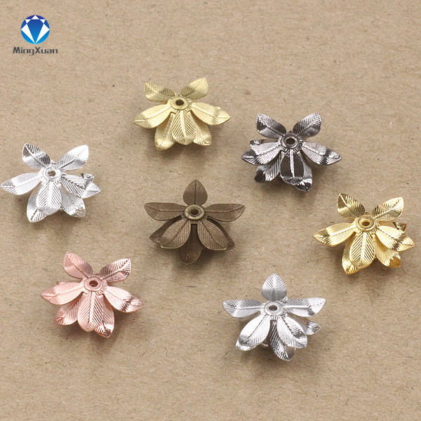 MINGXUAN Copper Filigree Flowers Base Connector Bead Cap Charms Setting For Jewelry Making Components 2