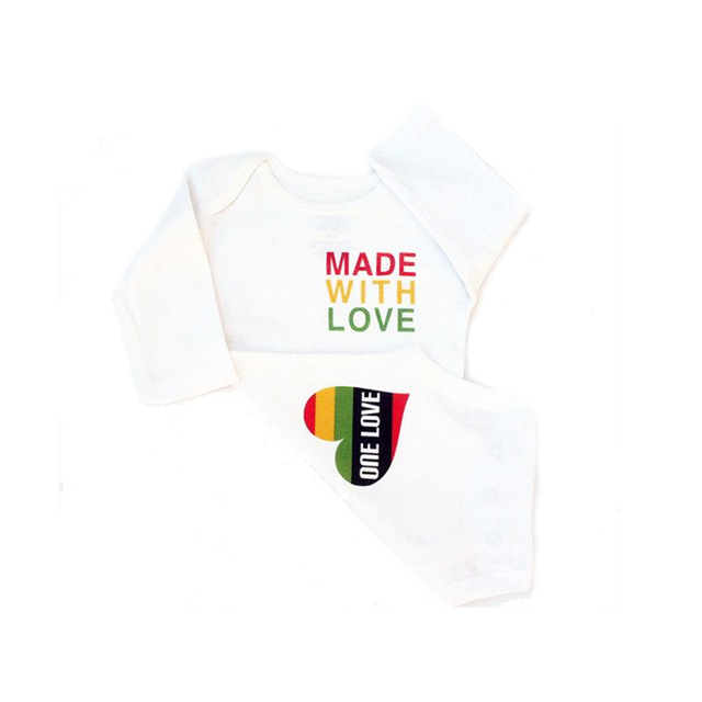 1f12d7c8 YSCULBUTOL Made with Love Reggae Baby Clothes Rasta Baby Bodysuit Red  Yellow Green 0-12M