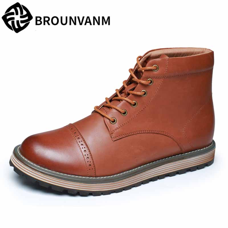 Martin boots male autumn winter British retro high top shoes men all-match cowhide short boots steel toe shoes mens Desert boots new punk high top pointed toe men martin boots fashion short british style vintage winter boots outdoor height increaseing shoes page 2 page 3